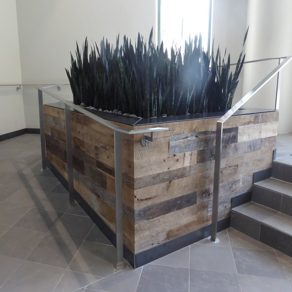 reclaimed barn wood planter box